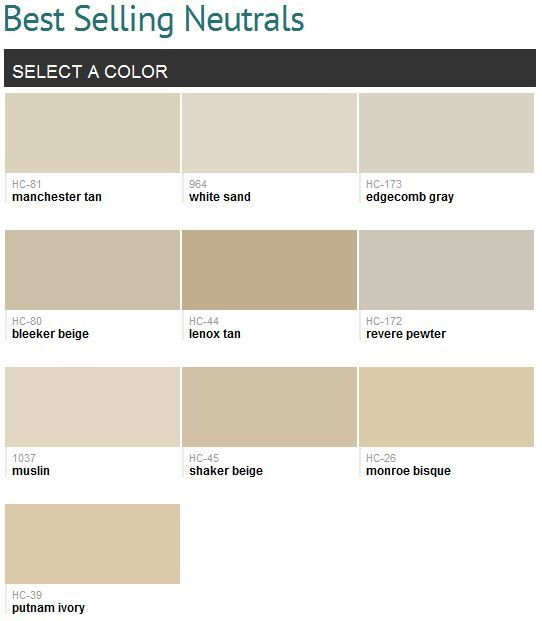 Best selling neutrals benjamin moore smart manchester for Cream beige paint color