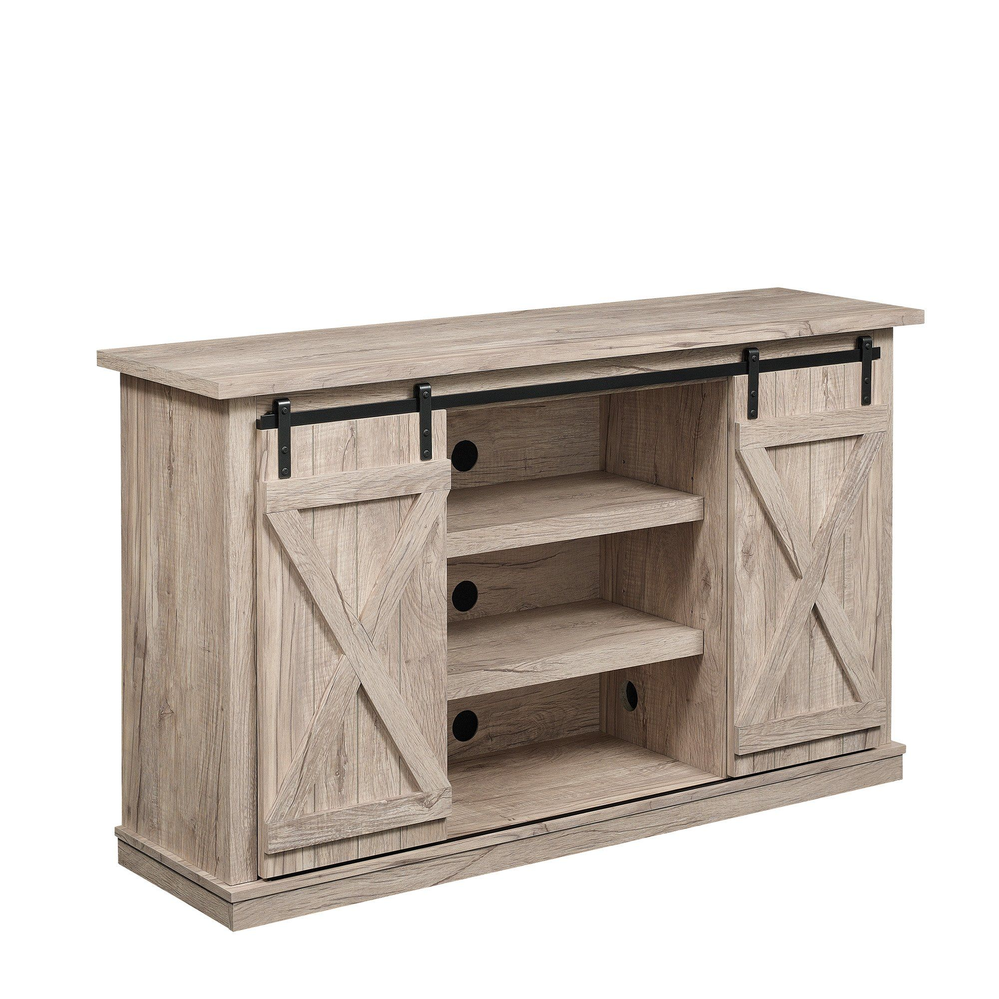 "White Farmhouse Sliding Door Cabinet: Laurel Foundry Modern Farmhouse Selena 60"" TV Stand"