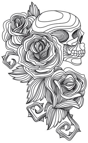 Engraved Skull And Roses Design Uth7766 From Urbanthreads