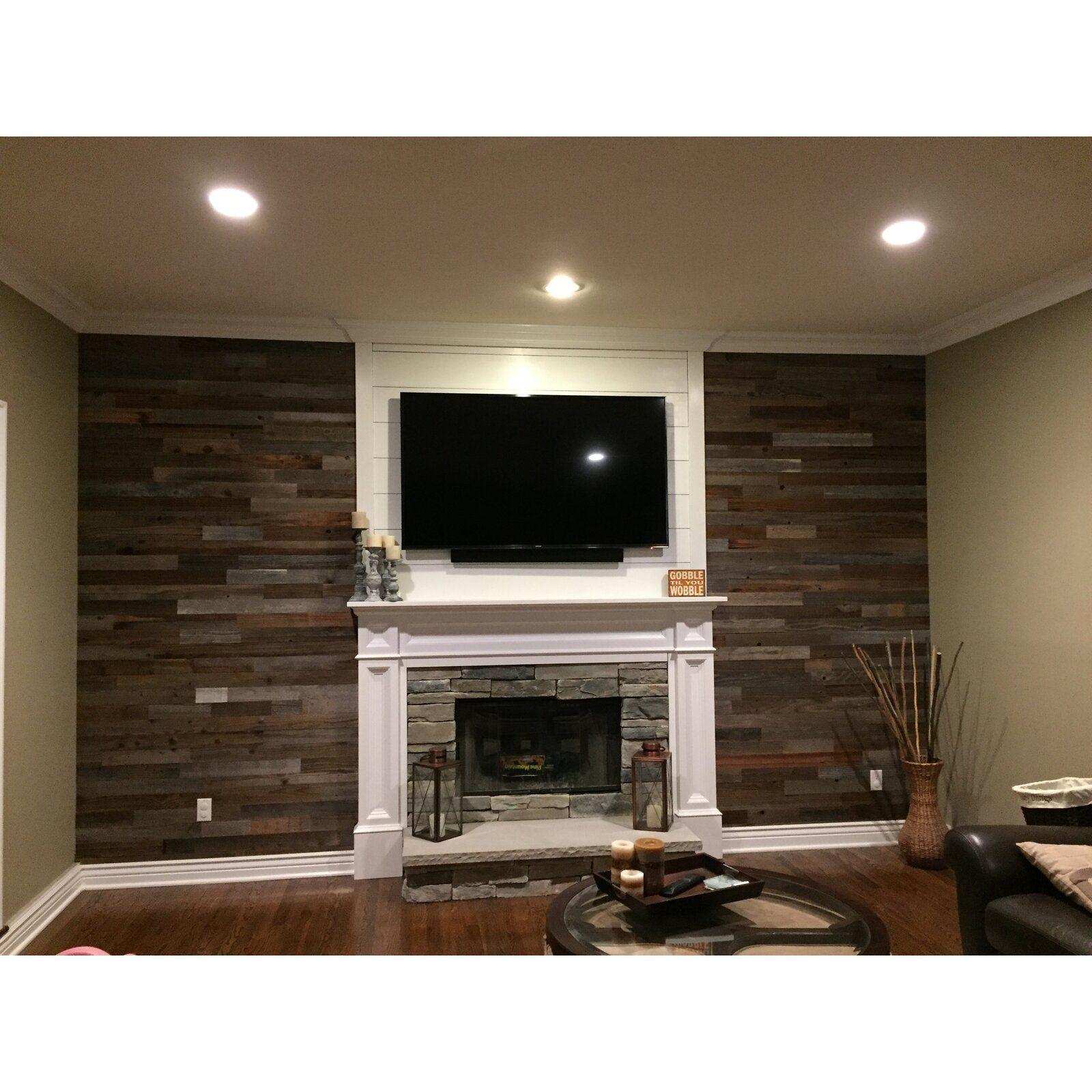 "amazing living room built ins reclaimed wood tv | PlankandMill 3"" Reclaimed Barnwood Peel and Stick Wall ..."