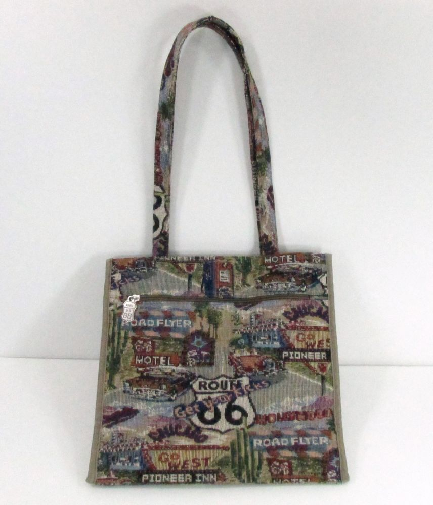 Jade Route 66 Tapestry Handbag Travel Tote Bag Per Carry On Totespers