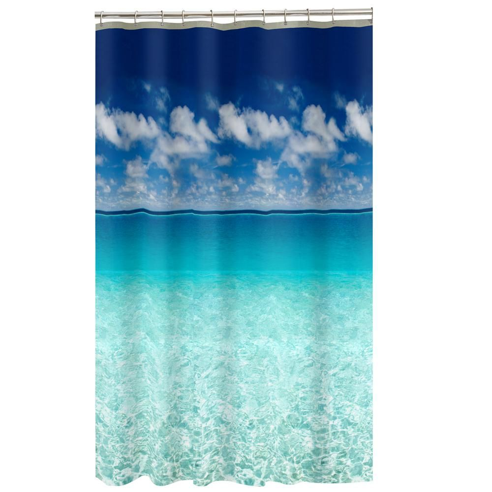 Maytex 70 In X 72 In Photoreal Escape Beach Peva Waterproof Shower Curtain 50275yblue In 2020 Beach Theme Shower Curtain Beach Shower Curtains Ocean Shower Curtain