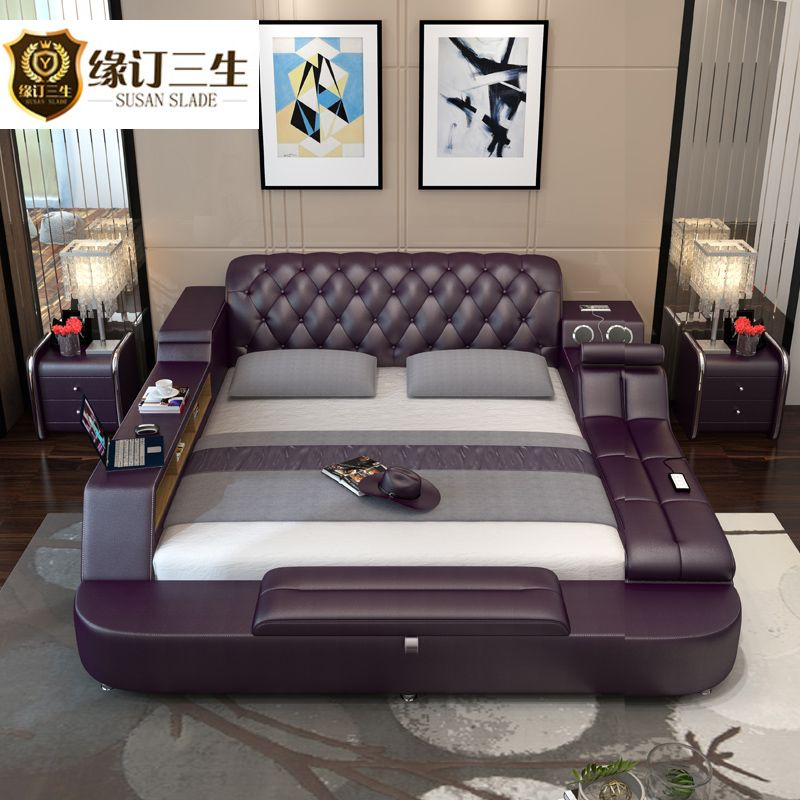 Master Bedroom Tatami Simple Modern Leather Bed Leather Bed 1 8 M