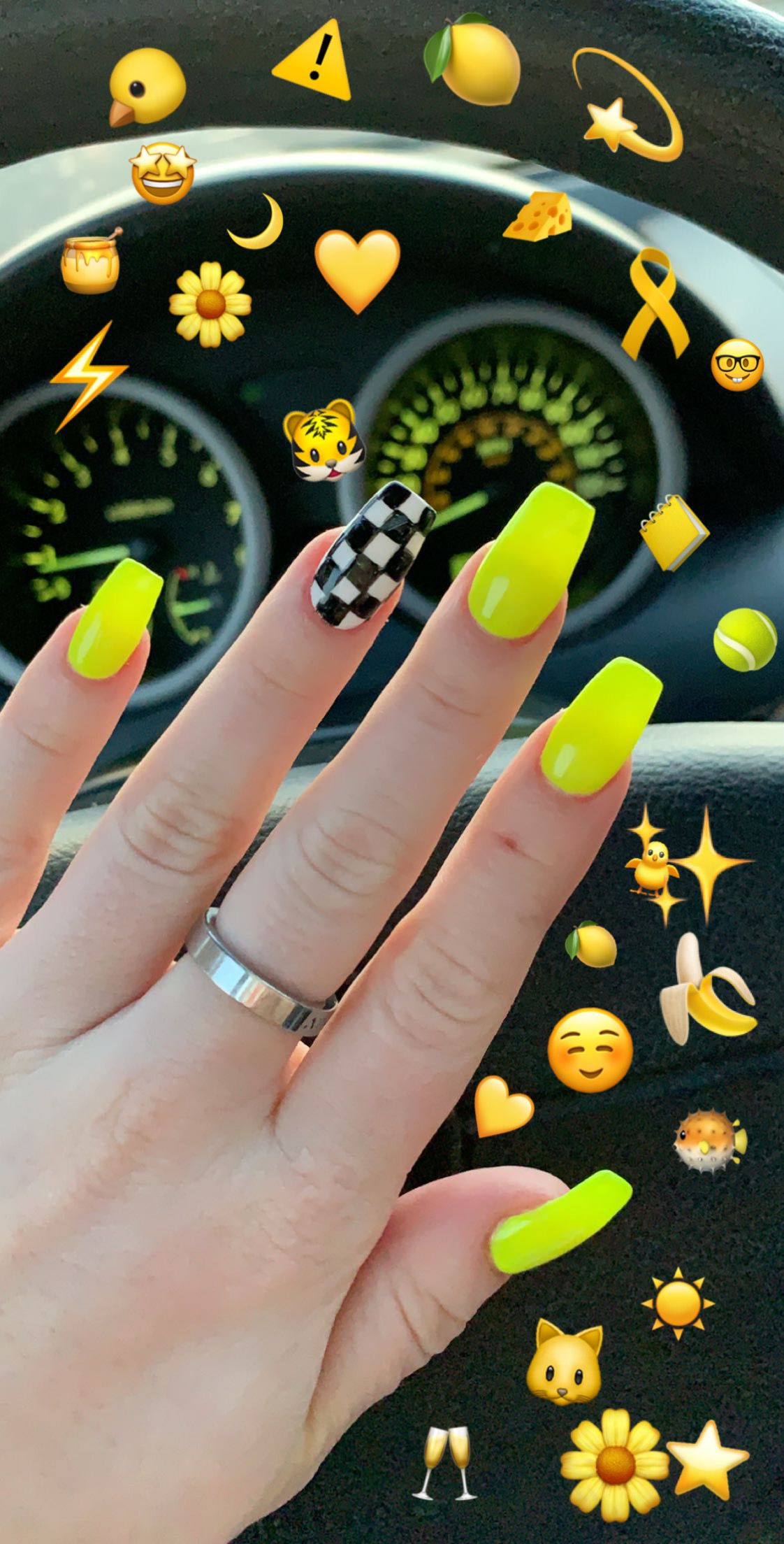 Take Me To The Races Neon Acrylic Nails Checkered Nails Neon Nails