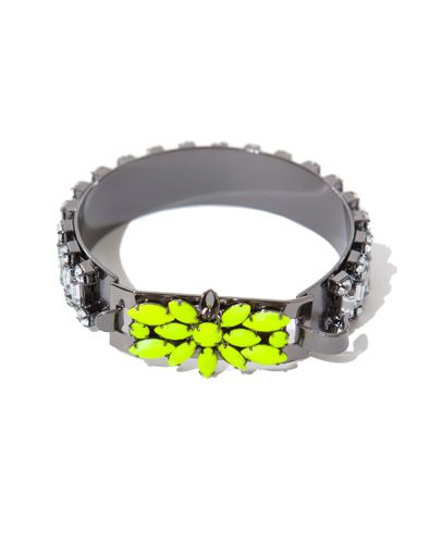 Neon Yellow Bracelet With A Touch Of Diamante Accessories Woman Zara United States