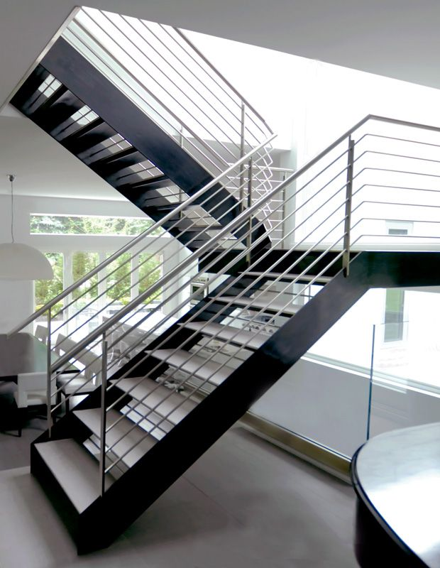 Blackened Steel Finish With Contrasting White Treads