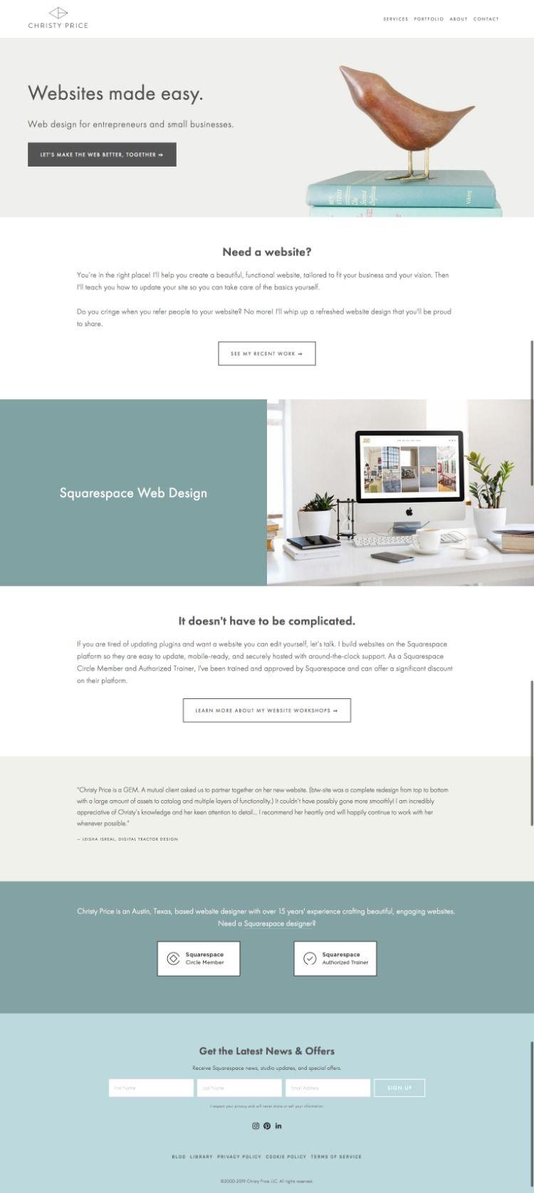 Squarespace Website Inspiration Squarespace Web Design Squarespace Small Business Web Design