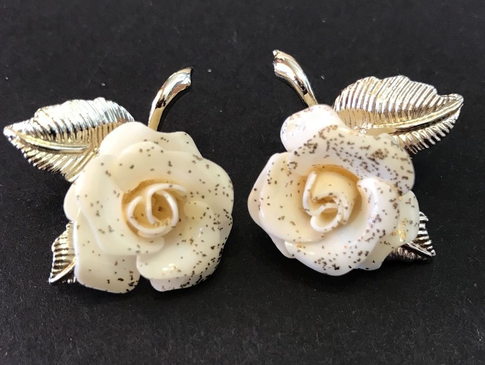 Vtg Bone China Earrings Rose Cream Speckled Clip Leaves Jewelry Watches Vintage
