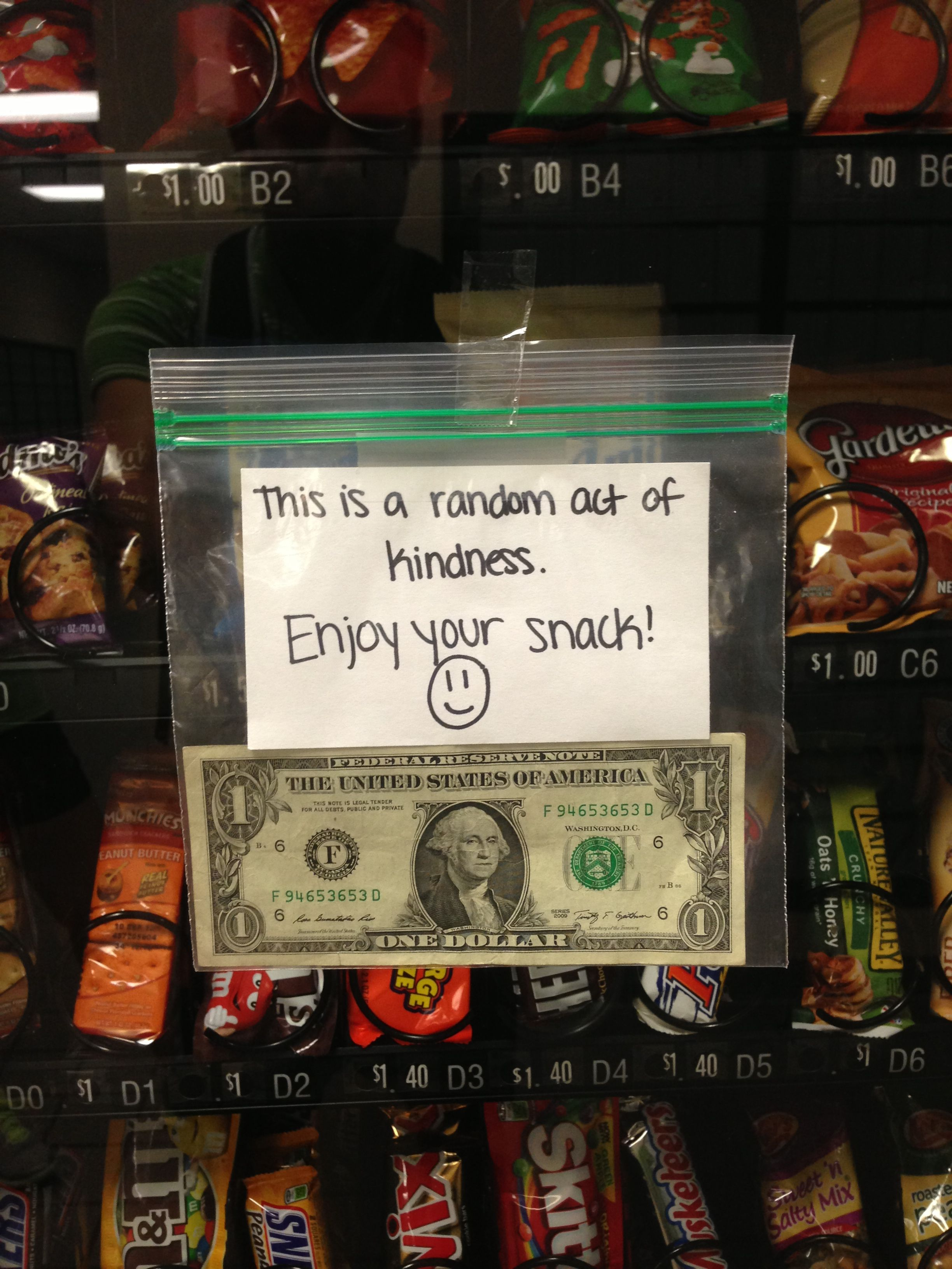 Act of kindness : Offer someone's snack leaving money on the ...