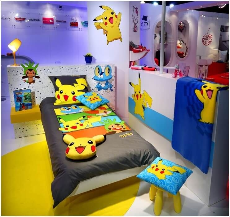 Having A Pokemon Bedroom Is Every Kids Dream It S Colorful Art And Exciting Card Game Is Something You Could Look Forward Pokemon Room Boy Room Kid Room Decor