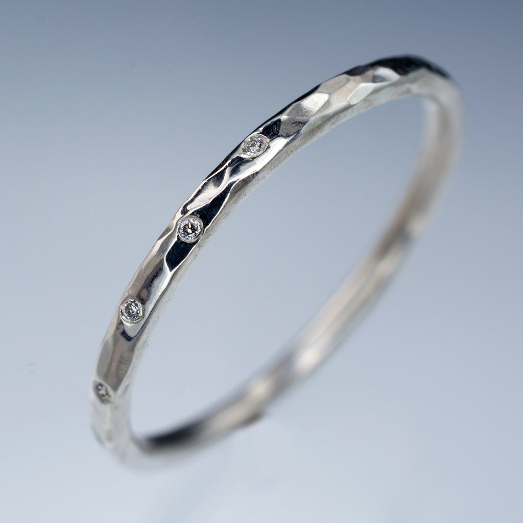 Thin White Sapphire Wedding Ring Skinny Hammered Texture Band