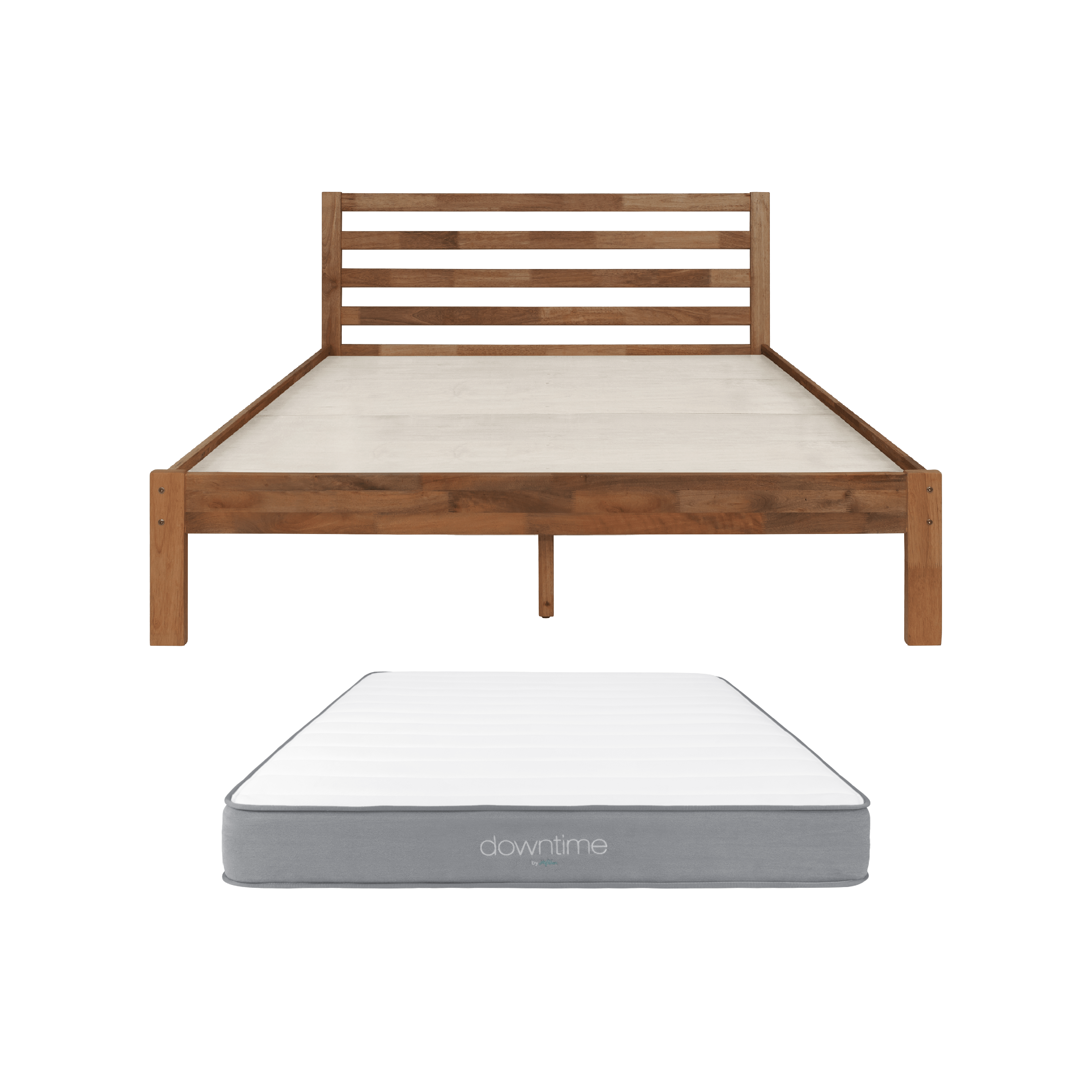 Kyoto King Bed In Walnut With Downtime Mattress 1 X Downtime