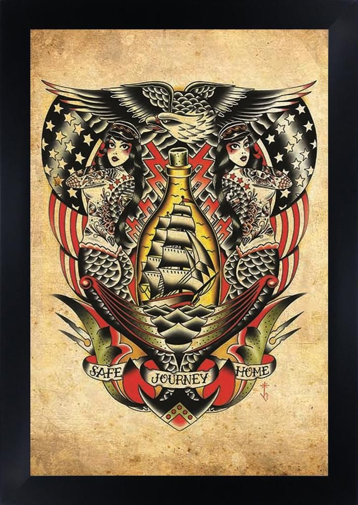 Pirate Ship Rick Walters Old School Tattoo Unframed Canvas or Paper Art Print