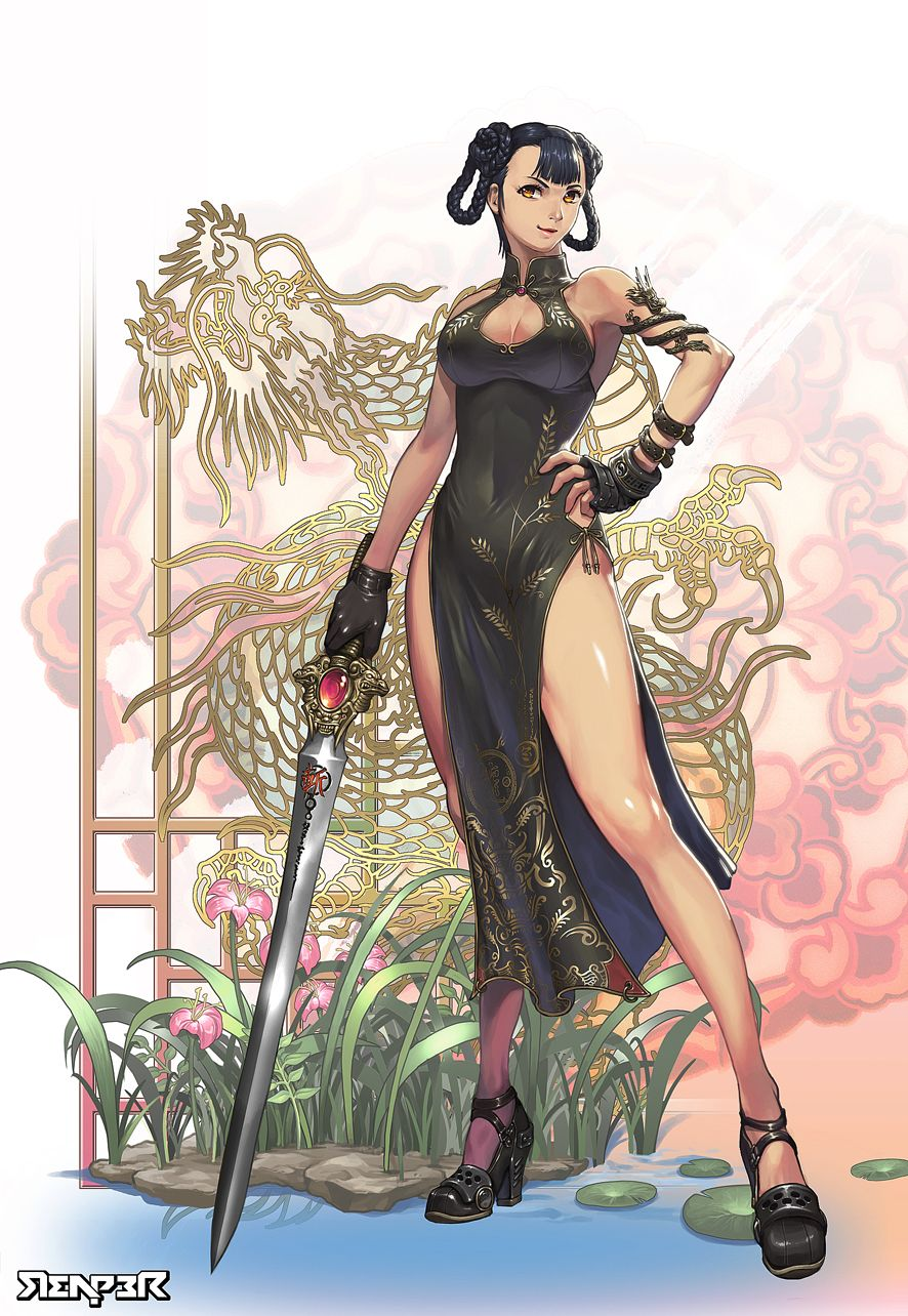A Lady in Chinese Dress Character art, Fantasy girl