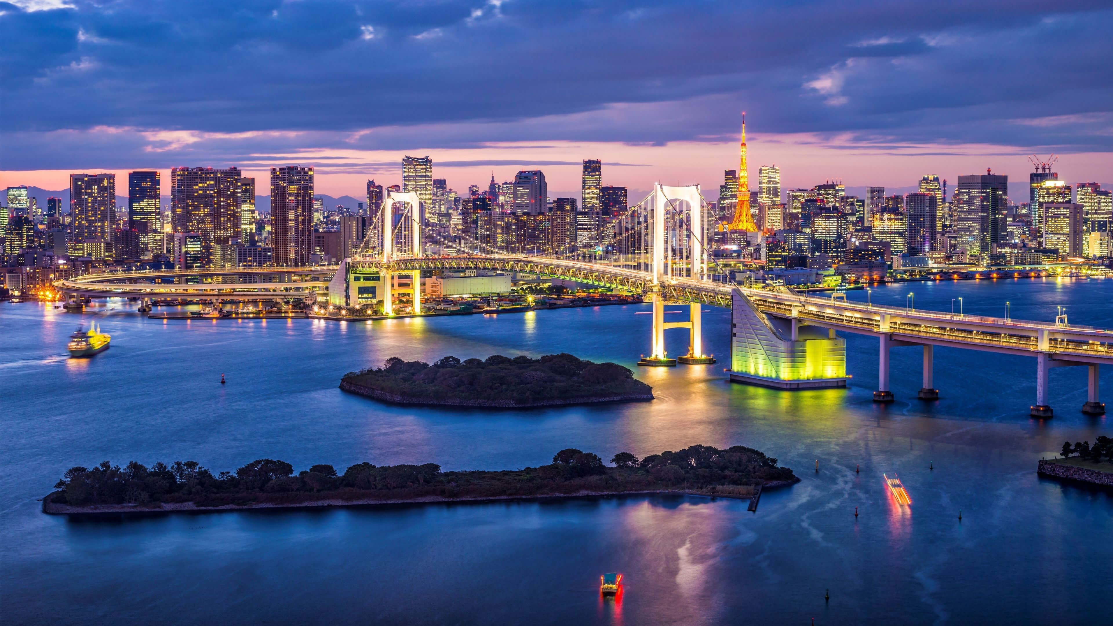 3840x2160 Rainbow Bridge Tokyo Japan Uhd 4k Wallpaper Tokyo Skyline Tokyo Bay Skyline