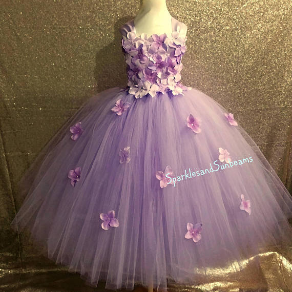 Lavender & plum hydrangea flower dress/ Flower girl dress(Aqua,white,ivory,burgundy,royal blue,lavender,yellow many colors available)