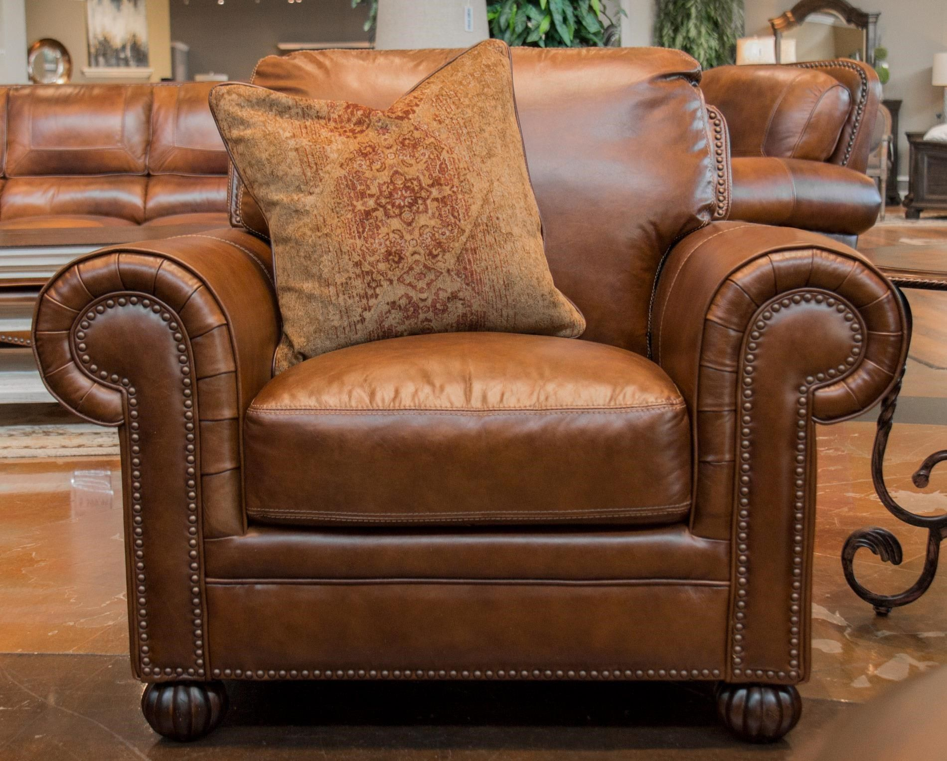 Merveilleux Saint James Tobacco Leather Chair By Simon Li At Great American Home Store