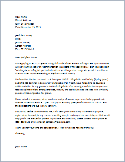 letter of recommendation for graduate school letter requesting graduate school recommendation 12298