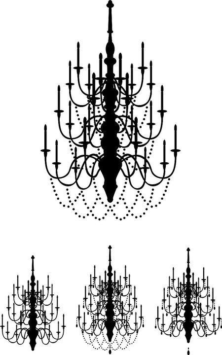 豪華でエレガントな素材シャンデリアのシルエットクリップアートを2