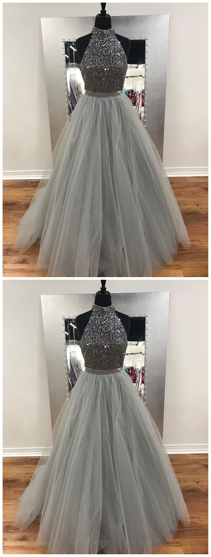 A line gray beaded fashion evening prom dresses popular sweet