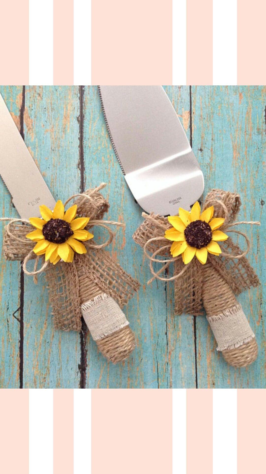 Wedding Cake Server and Knife Set / Sunflower Wedding Cake