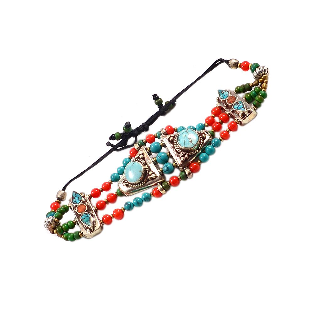 Silvesto india turquoise u coral silver plated bracelet pg