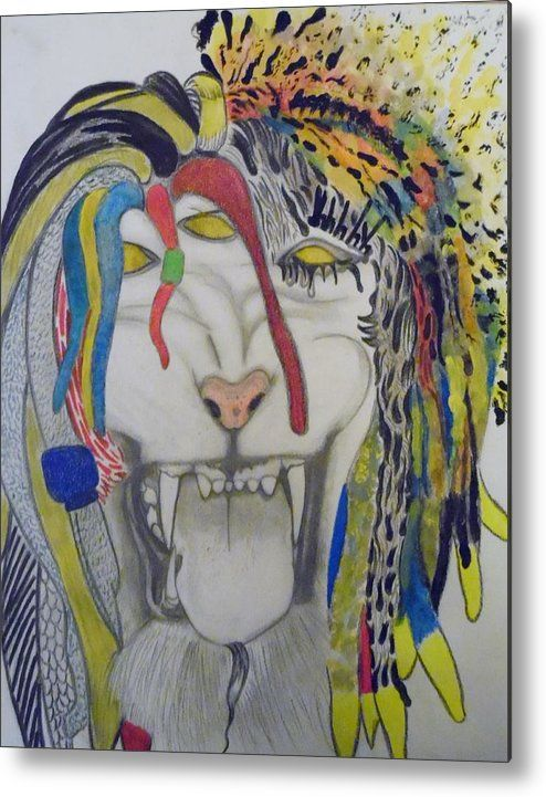 Tiger Metal Print featuring the drawing Here Comes The Beast by Nicole Burrell