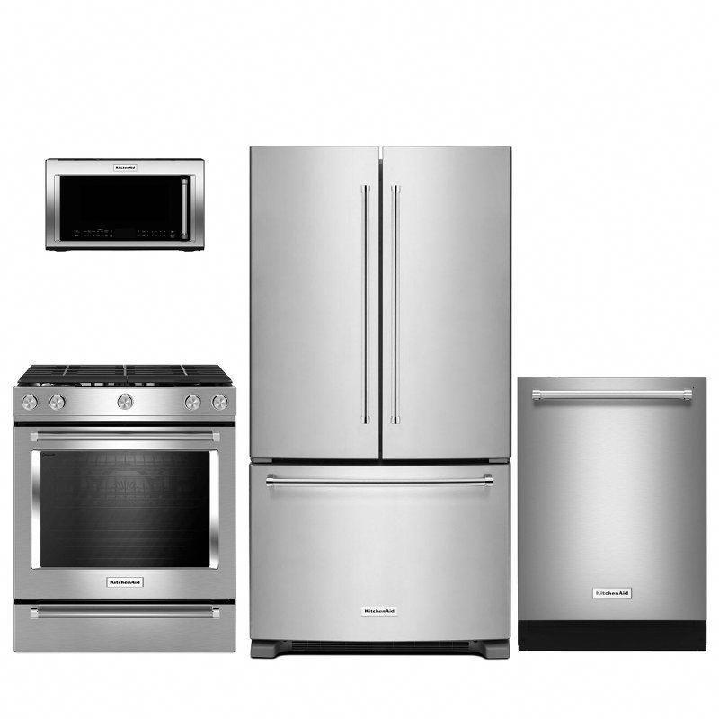 Kitchenaid 4 piece kitchen appliance package with gas