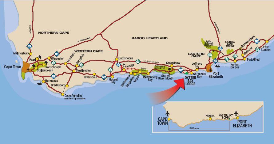 map garden route cape town port elizabeth oyster bay map. (891