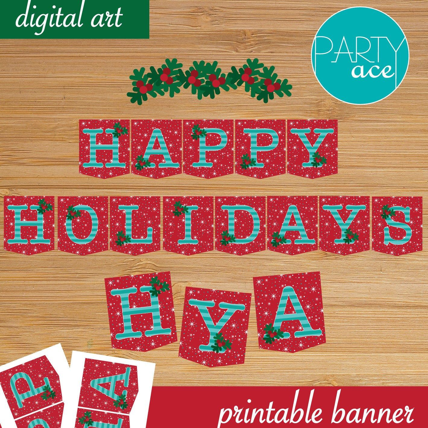 image regarding Happy Holidays Banner Printable identify Partyace shared a fresh picture upon Bulletin Board Family vacation