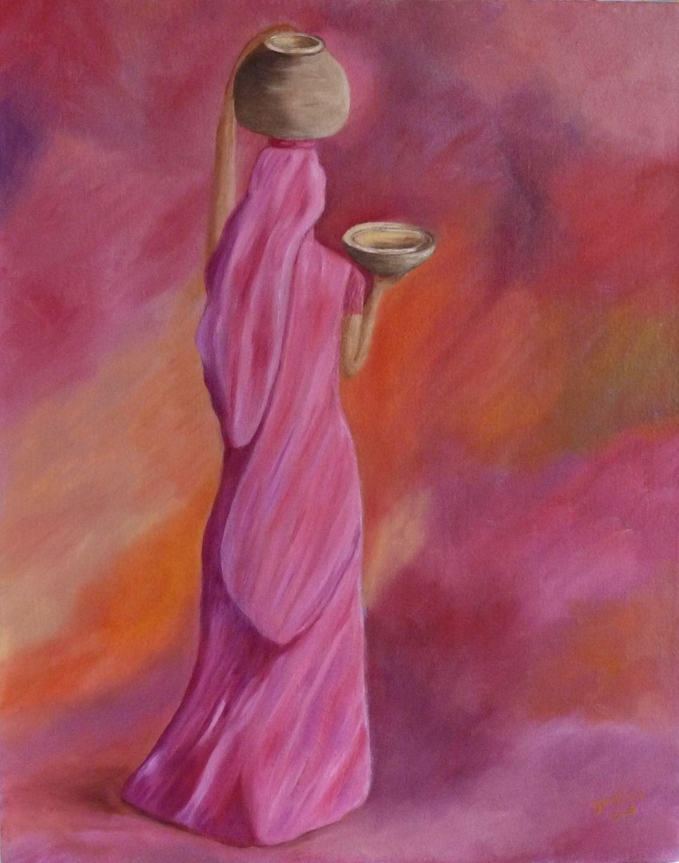 Peinture d\'Afrique - Peinture femme africaine - huile sur toile de ...