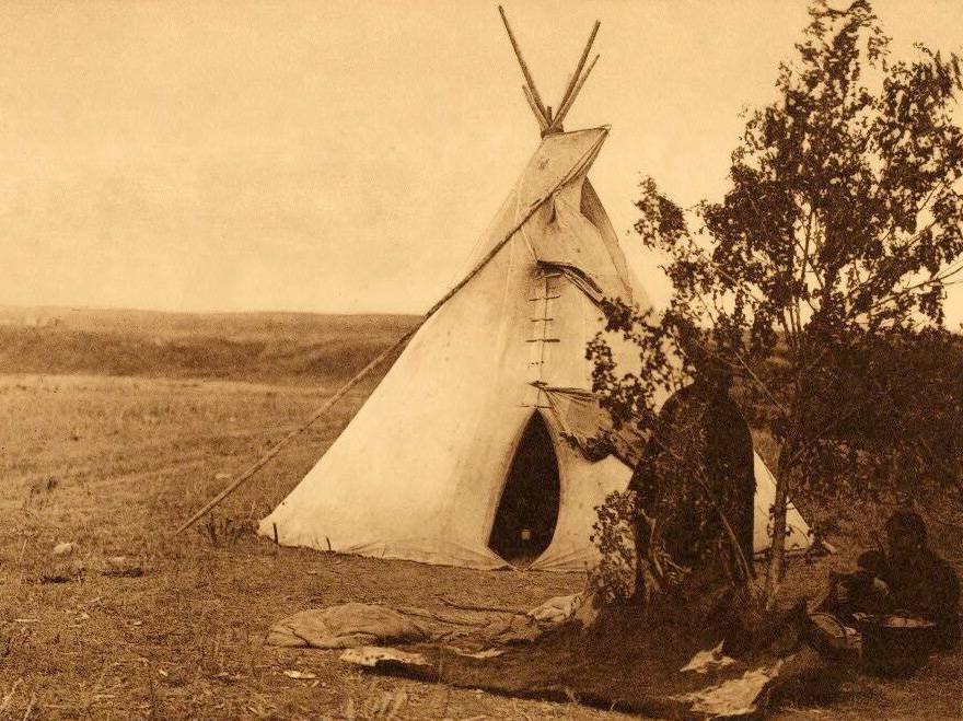 tipi (teepee or tepee) photograph : An Arikara Summer Home.