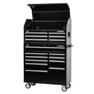 Husky 41 In 16 Drawer Tool Chest And Rolling Tool Cabinet Set Black H4116chtr At The Home Depot Mobile Tool Chest Tool Storage Cabinets Tool Storage