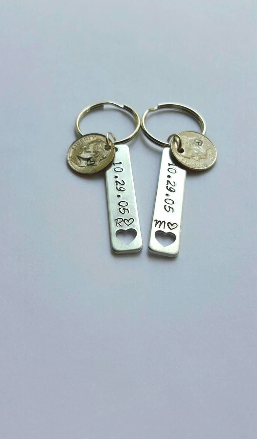 10 Year Anniversary Gift For Him Stamped Dime Keychains