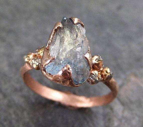 Raw Uncut Aquamarine Diamond Rose Gold Engagement Ring Wedding Ring