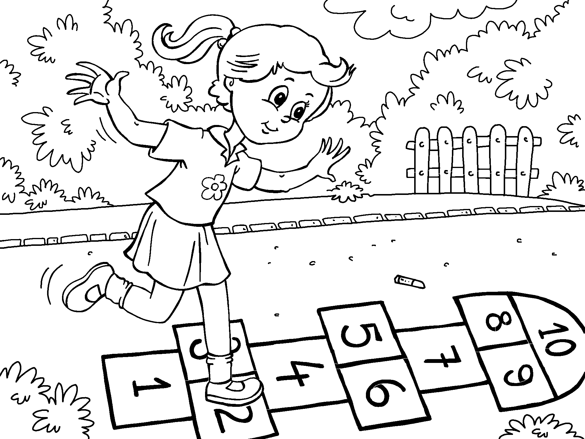 Girl Hopskotch coloring page in 3  Kids playing, Online