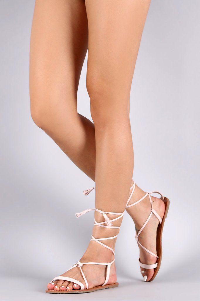 Wild Diva Lounge Tassel Lace Up Flat Sandal – Style Lavish