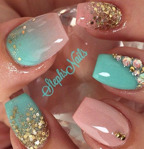 Nude Gold Mintgreen Glitter Nails And Toes Nail Art Nails