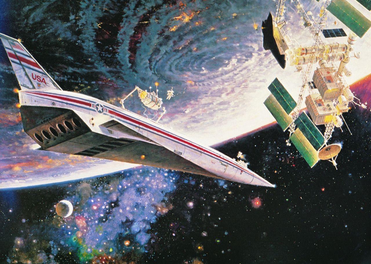 "Robert McCall, ""Exploring the Space Frontier"" 70s sci fi"
