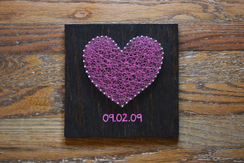 Valentinstag Herz String Art wählen Sie das Datum | Etsy