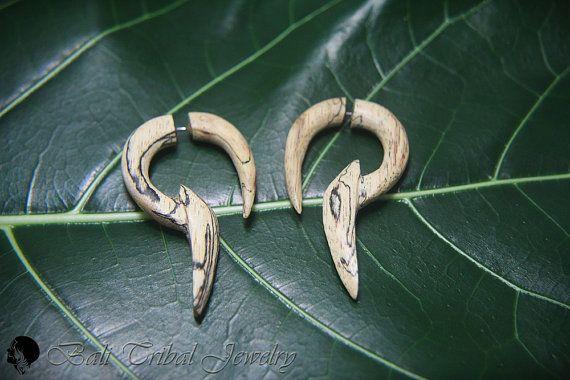 "Wood Earring Fake Gauge, Tribal ""Yuga"" Faux Gauge Earrings, Tamarind Wood Fake Piercing Gothic Earring W086-3 #etsymnt #fakepiercing"
