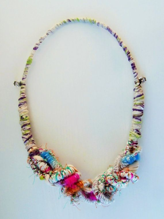 original and unique handmade colorful necklace light green purple strings statement necklace