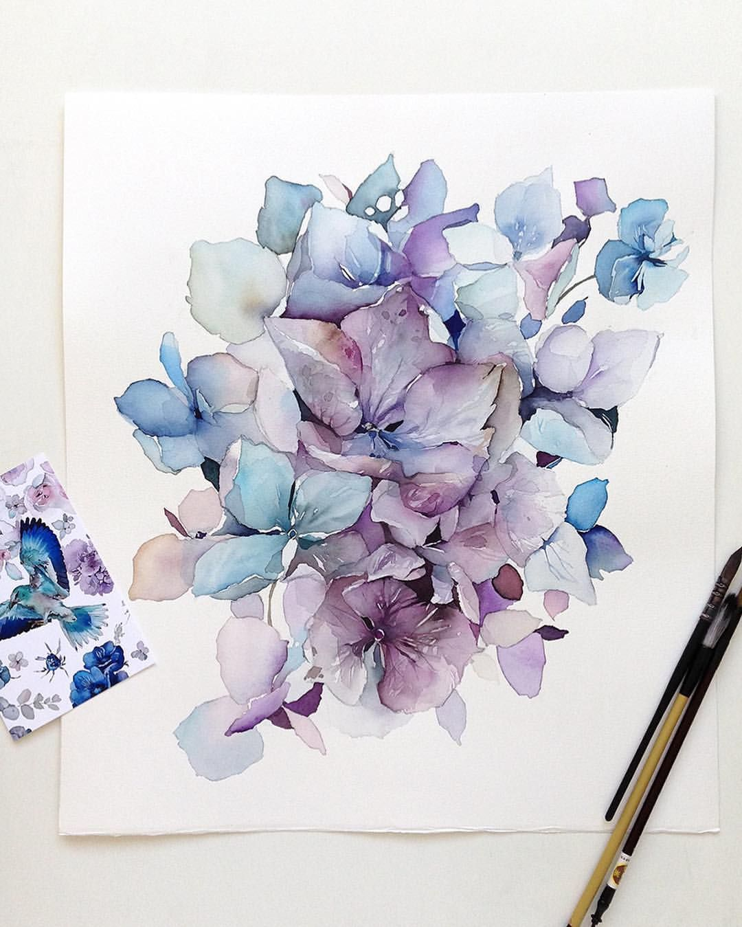 Watercolor Hydrangea Hydrangeas Art Watercolor Flowers Tutorial