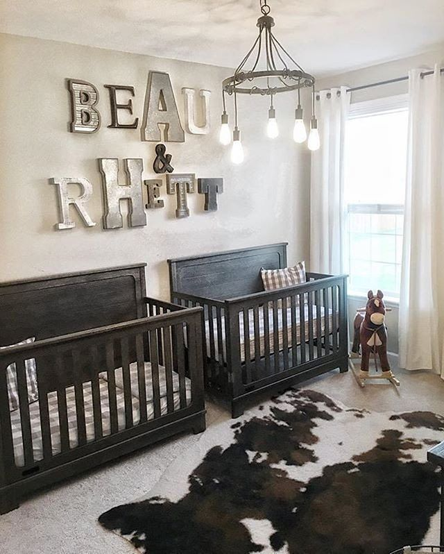 loving the modern touches to this rustic twins nursery image rh pinterest com