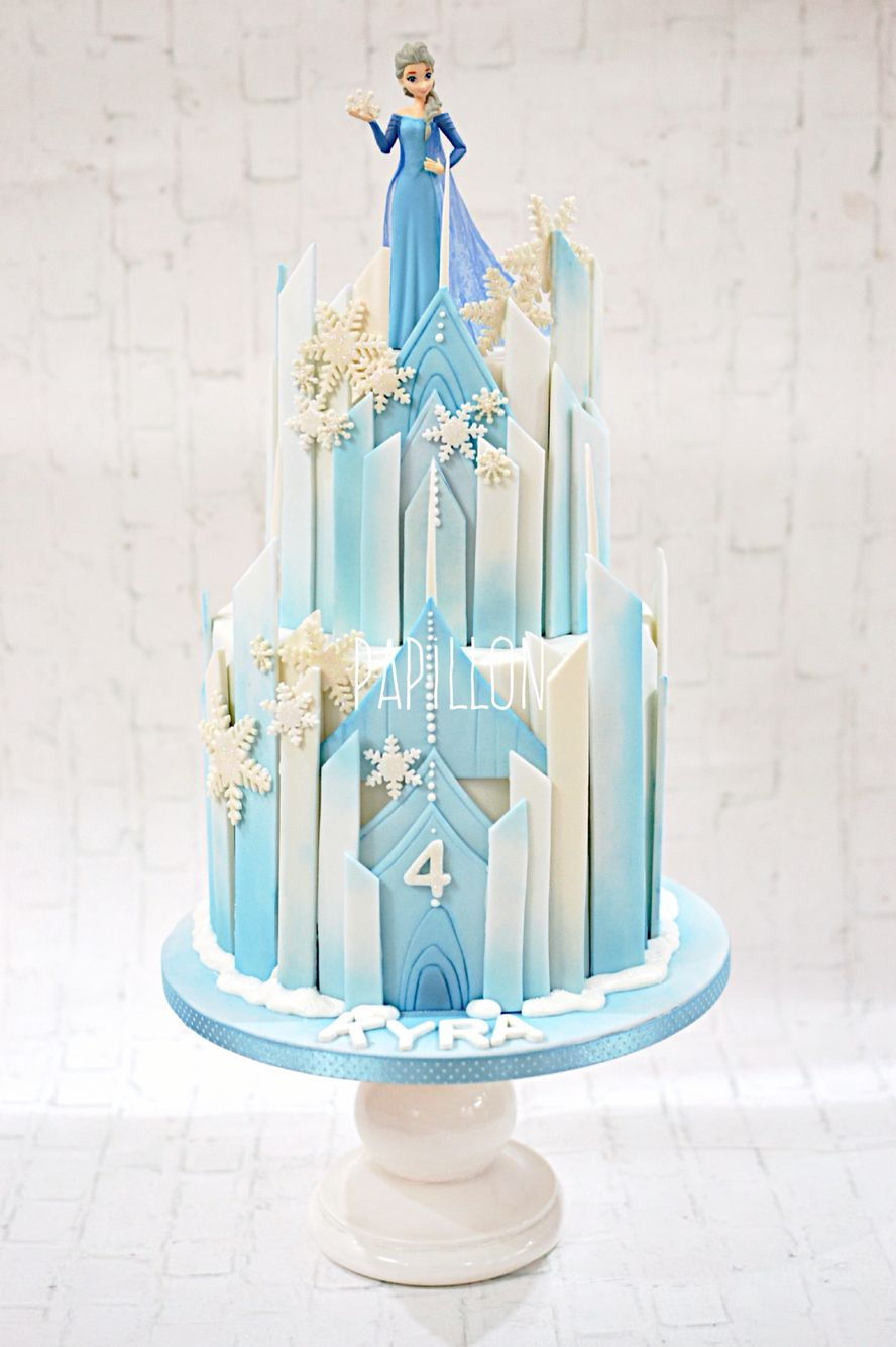 Brilliant Frozen Themed Castle Cake With Elsa Toy Figure With Images Funny Birthday Cards Online Overcheapnameinfo