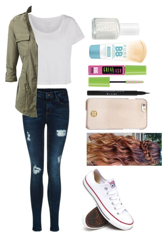 """""""Time for the fall"""" by annie-cheers ❤ liked on Polyvore featuring Pieces, Converse, Tory Burch, Stila, Maybelline and Essie"""