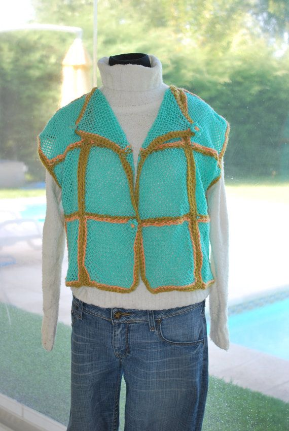 FREE Shipping / New Hand Woven Water green and SalmonTop Vest Sweater, with Cute loom flowers. Women, crochet