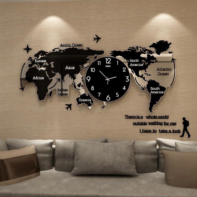 World Map Wall Clock Large Modern Design 3d Stickers Hanging Clock Glowing In Dark Decorative Watch Home Silent Wall Clocks Large Wall Clock Modern Large Wall Clock Wall Clock Modern