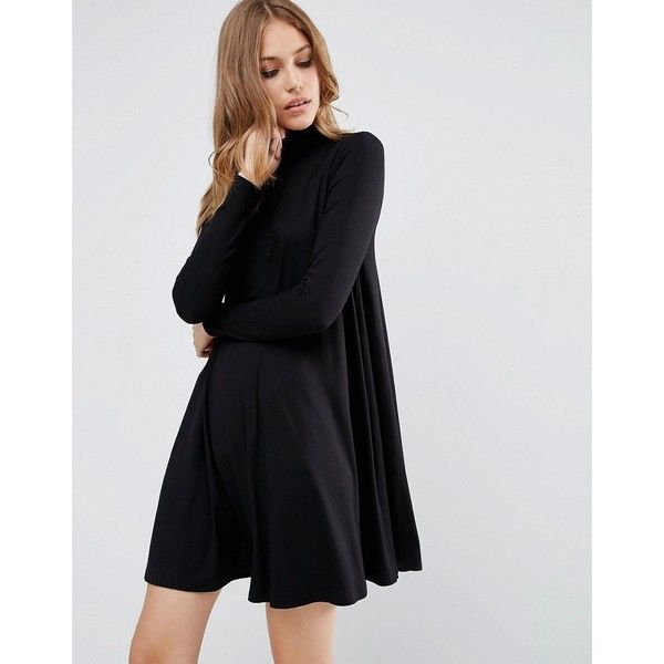 Asos Swing Dress With Polo Neck Long Sleeves 30 Liked On