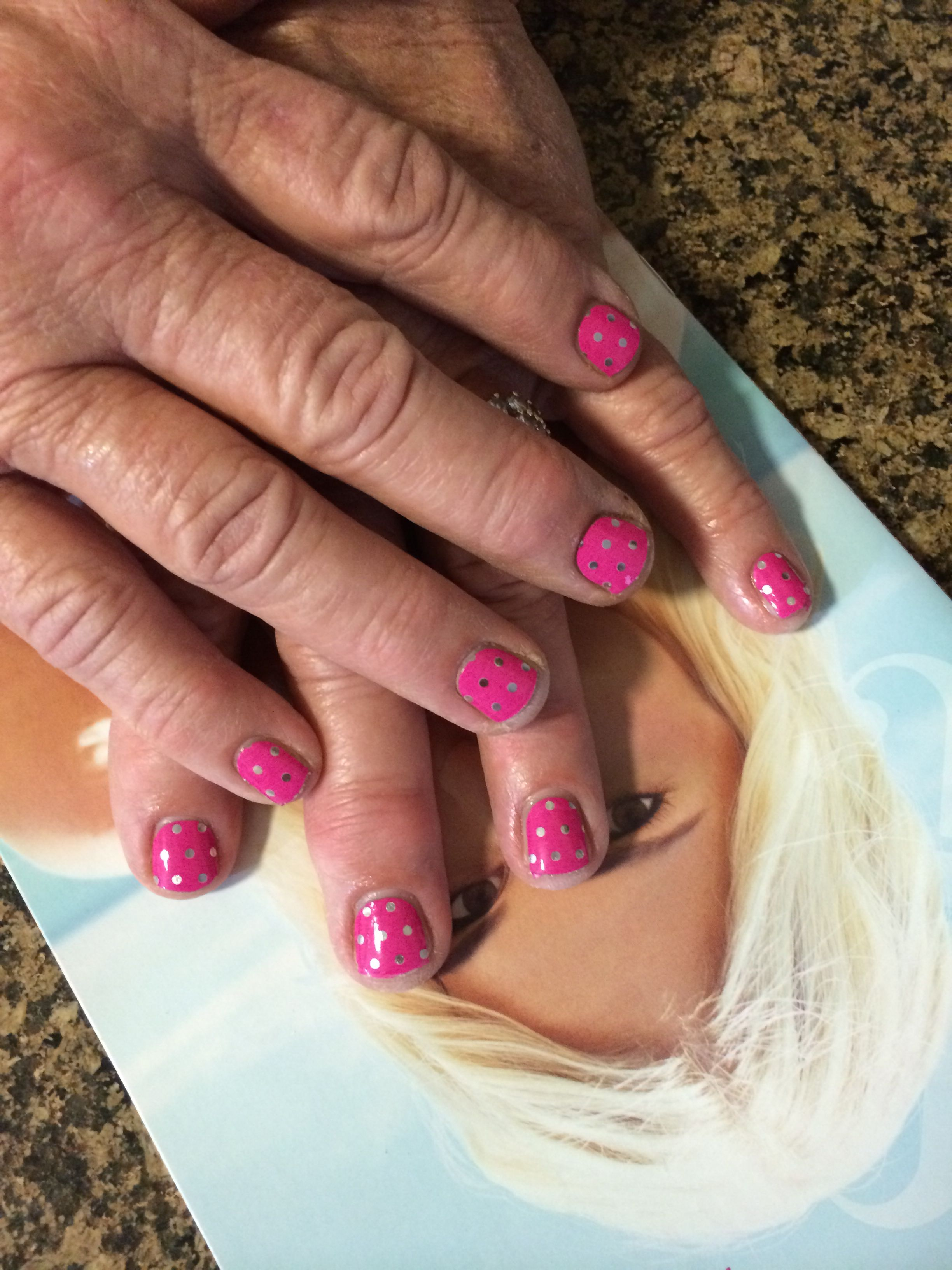 Icy Pink Polka jamberry wraps on short nails! Interested? Check out ...